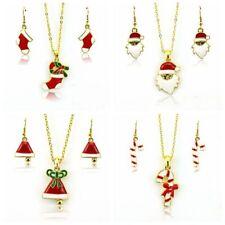 Jewelry Set Resin Pendant Crystal Rhinestones Earrings+Necklace Christmas