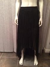 Alice + Olivia Pleated Asymmetrical High Low Long Maxi Skirt Black $275