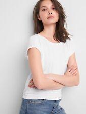 NEW Gap Womens Softspun Jersey Knit Tie Back Drapey Shirt Top White M 8 10 NWT