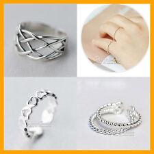 925 Solid Sterling Silver Adjustable Toe heart rope swirl celtic women girl Ring
