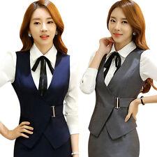 Office Lady Vest Women Short Waistcoat V Neck Uniform Formal Sleeveless Workwear