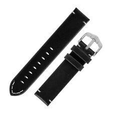 Hirsch RANGER Retro Hand-Stitched Calf Leather Parallel Watch Strap in BLACK