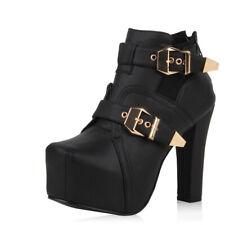 Sexy Damen Stiefeletten Plateau Boots Schnallen Schuhe 74048 Trendy Neu