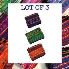 "Lot Of 3 Purse Coin Make Up Bag 100% Cotton Small Handmade Purse  4""x3"""