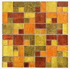 Mosaik Fliese Transluzent Kombination Glasmosaik Crystal gold orange - 88-0781_b