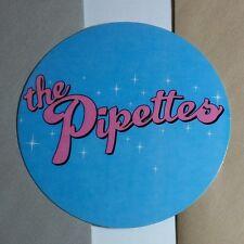 THE PIPETTES BLUE PINK ROUND AMP RARE GUITAR CASE BOARD STICKER
