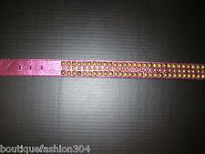 New Womens Designer Betsey Johnson Leather Stud Belt Purple Metallic 39 inches