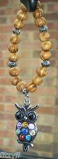 In Car Hanging Wooden Beads & Beautiful Owl Bird of Prey Strigiformes Pendant