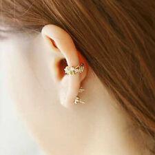 Elegant Crystal Flower Fake Clip On Ear rings Non Piercing Stud Hoop Earring JR
