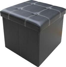 FAUX LEATHER FOLDING OTTOMAN STORAGE STOOL BOX POUFFE FOOT REST SEAT CUSHION LID