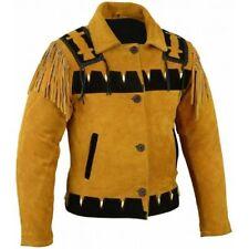 Estilo vaquero para hombre flecos americano desgaste occidental estilo 80s Chaqueta de cuero de gamuza