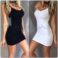 SEXY BASIC Slim Bodycon Stretch Seamless Mini Dress Slip Tunic Long Cami