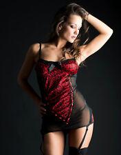 Guépière Voile Guépard Rouge Et Noir T NEUF SEXY Lingerie
