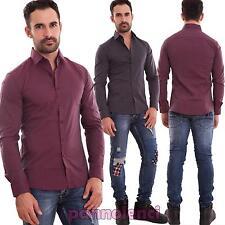Camicia uomo casual basic slim fit tinta unita cotone manica lunga nuova  150683