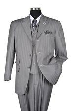 New Men's 3 pics Milano Moda Elegant and Classic Stripes Gray Suit # 5267V