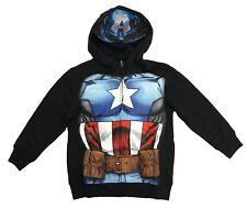 MARVEL Little Boys' Captain America Full Zip Hoodie with Mask Black