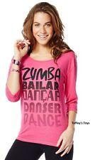 Zumba - Dance 3/4 Long Sleeve Tee - Fucshia Pink -sz XS, S, M, L ~ New~Free Ship