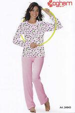 Pigiama donna Lungo Serafino. Pantalone + Manica lunga OGHAM, 24943 Puro Cotone.