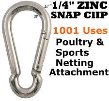 "Carabiner Snap Clips 1/4"" Zinc Plated Snap Hook Lock Clip Lot Bulk Wholesale"