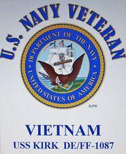 VIETNAM: USS KIRK  DE/FF-1087* U.S NAVY VETERAN W/EMBLEM* SHIRT