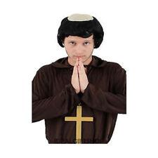 ADULTS MONK WIG & CROSS KIT MEDIEVAL PRIEST FANCY DRESS RELIGIOUS FRIAR TUCK SET
