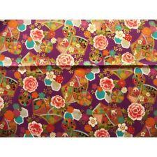 C-NAGARE coupon tissu crêpe Chirimen Japonais 55x49cm fleur doré noir 38