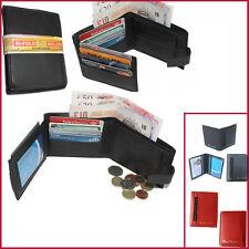 Portafoglio di pelle porta carte di credito NERO SLIM Bifold Borsa Da Uomo ID Titolare tasca