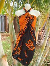 Hawaii Sarong Orange/Black Hibiscus Coverup Hawaiian Pareo Beach Luau Dress
