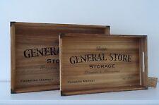 Wooden Vintage Rustic Breakfast Serving Tray Handles General Store 2 Sizes/ Set