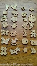 10 50 Or 100 Wooden Buttons Heart Star Flower Teddy Bear Hello Kitty Mickey Etc