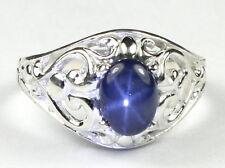 Blue Star Sapphire, 925 Sterling Silver Ladies Ring, SR111-Handmade