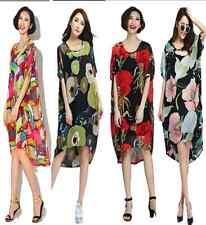 UK08 para mujer Largo Verano de Gasa Manga corta de color de gran tamaño Vestido informal