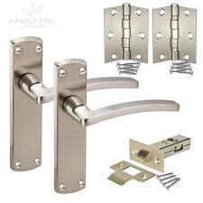 Modern Door Handles on Backplate - Satin Chrome Door Handles