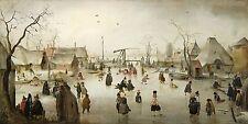 "Hendrick Avercamp : ""Skating in a Village"" (c.1610) — Giclee Fine Art Print"