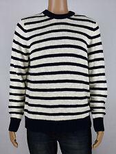 Michael Kors Mens Navy Ivory Linen Cotton Striped Crewneck Sweater L, XL