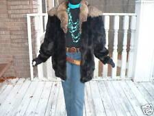 Mint Unique black Mink & Silver Fox Fur Coat Jacket M