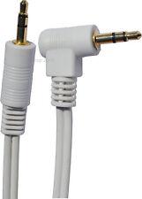 BLANC Câble Prise Stereo Jack Male 3,5mm Angle Droit / Coude 30cm to 10 mètre OR