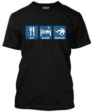 Eat Sleep Snowboard Mens Black Snowboarding T-Shirt WOW
