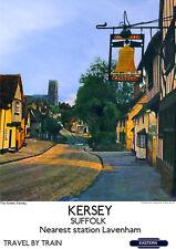 Kersey Suffolk VINTAGE RAILWAY POSTER Lavenham Station Rail Travel ART PRINT