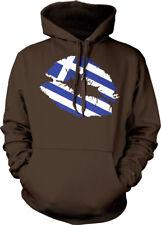 Greek Flag Colors Greece Lipstick Kiss Lips Heritage GRC From Hoodie Sweatshirt