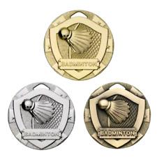 Badminton Shuttlecock & Bat 50mm Medals - FREE ribbon, engraving