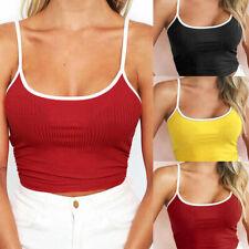 Fashion Women Sexy Adjustable Shoulder Straps O-Neck Sleeveless Crop Top Blouse