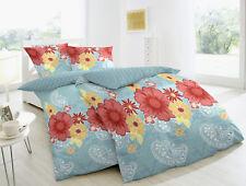 Betz - Parure de lit réversible à motif floral 2 pièces 100% coton bleu clair ta