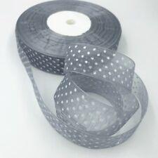 NEW 100Yards 25mm Gray dot Satin Edge Sheer Organza Ribbon Bow Craft Wedding