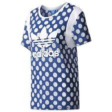 Adidas Originals Women Polka Dots Trefoil Boyfriend Tee AOP SHIRT BJ8282 Blue
