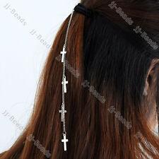 1pc Lady Multi Cross Tassel Chain Hair Cuff Band Wrap Ponytail Holder Metal Allo