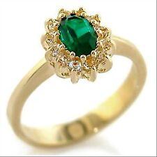 Bague plaquée or, cristal émeraude et diamants, bijou femme neuf,taille au choix