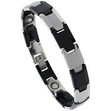 Tungsten Carbide & Ceramic Magnetic Bracelet,2-Tone (Gun Metal, Black) Bar Links
