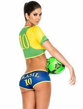 DISFRAZ DE ANIMADORA POM POM GIRL FUTBOL BRASIL CONJUNTO TOP CULOT TRAJE MUJER