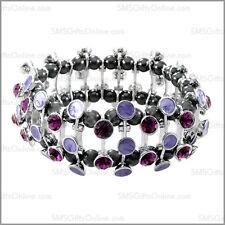 Magnetic Purple Enamelled Crystal Bracelet /Bangle